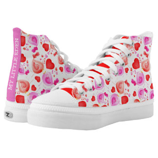 Love birds watercolor art custom shoe printed shoes