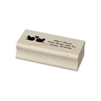 Love Birds Wedding Address Rubber Stamp