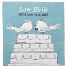 Love Birds Wedding Cake Bride & Groom Kiss Napkin