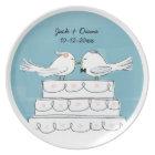 Love Birds Wedding Cake Bride & Groom Kiss Plate