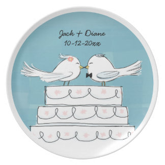 Love Birds Wedding Cake Bride & Groom Kiss Plate
