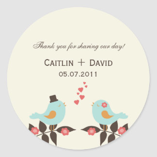 Love Birds Wedding Favor Stickers/Envelope Seals Round Sticker