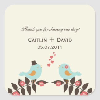 Love Birds Wedding Favor Stickers/Envelope Seals Square Sticker