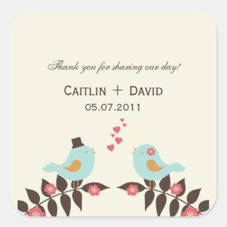 Love Birds Wedding Favor Stickers/Envelope Seals Square Sticker
