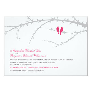 Love Birds Wedding Invitation (fuchsia)