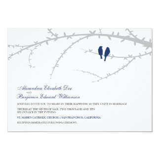 Love Birds Wedding Invitation (navy)