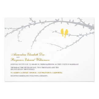 Love Birds Wedding Invitation yellow
