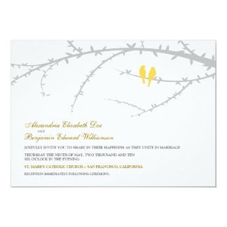 "Love Birds Wedding Invitation (yellow) 5"" X 7"" Invitation Card"