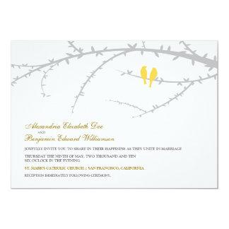 Love Birds Wedding Invitation (yellow)