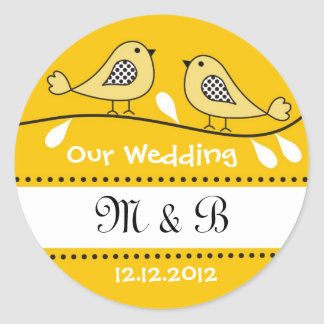 Love Birds Wedding Monogram Stickers