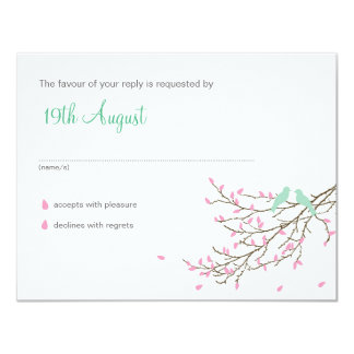 "Love Birds Wedding RSVP in Pink and Blue 4.25"" X 5.5"" Invitation Card"