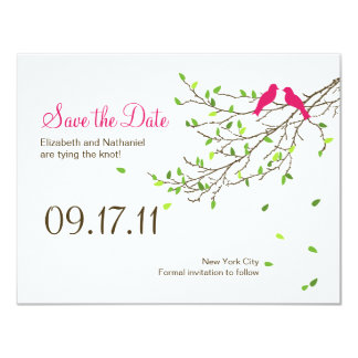 Love Birds Wedding Save the Date Magenta Greens 11 Cm X 14 Cm Invitation Card