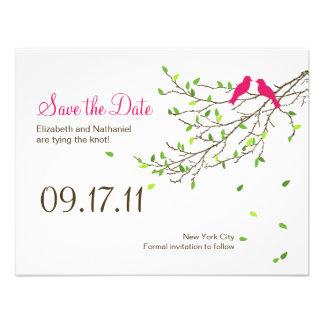 Love Birds Wedding Save the Date Magenta Greens Invitation