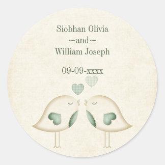Love Birds Wedding Round Sticker