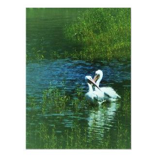 Love Birds white pelican couple MWUH! 17 Cm X 22 Cm Invitation Card