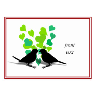 Love Birds with Green Hearts Business Card Templates