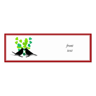 Love Birds with Green Hearts Business Card