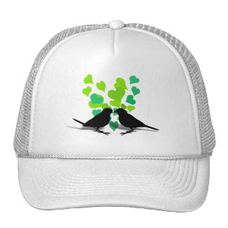 Love Birds with Green Hearts Mesh Hats
