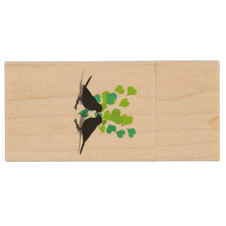 Love Birds with Green Hearts Wood USB 2.0 Flash Drive