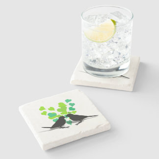 Love Birds with Green Hearts Stone Coaster