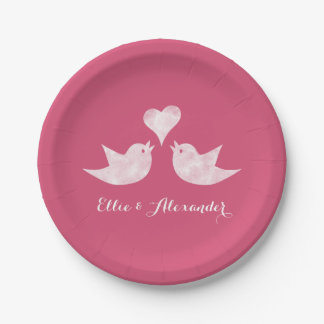 Love Birds with Heart Custom Text 7 Inch Paper Plate