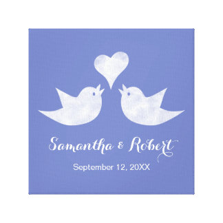 Love Birds with Heart Custom Text Canvas Print