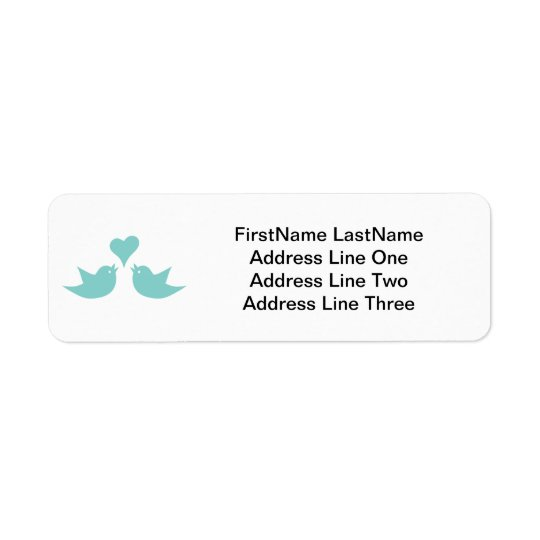 Love Birds with Heart Custom Text Return Address Label