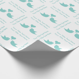 Love Birds with Heart Custom Wedding Gift Wrapping Paper
