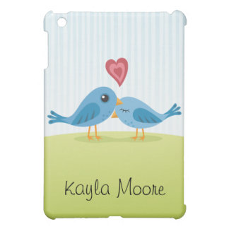Love birds with heart cute personalized iPad case
