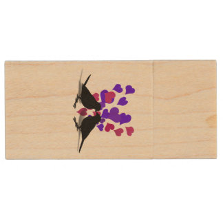 Love Birds With Purple And Red Hearts Wood USB 2.0 Flash Drive