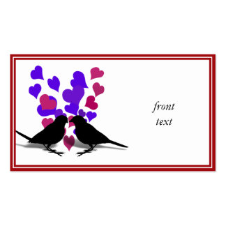 Love Birds With Purple Hearts Business Card Template