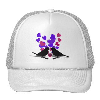 Love Birds With Purple Hearts Hats
