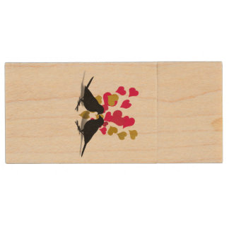 Love Birds With Red And Gold Hearts Wood USB 2.0 Flash Drive