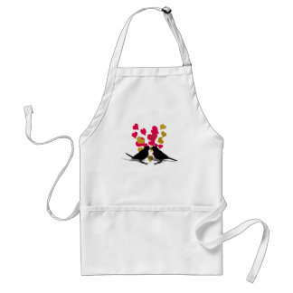 Love Birds With Red & Gold Hearts Adult Apron