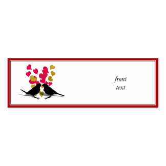 Love Birds With Red & Gold Hearts Business Cards