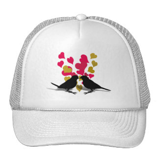 Love Birds With Red & Gold Hearts Hat