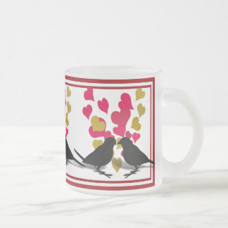 Love Birds With Red & Gold Hearts Mug