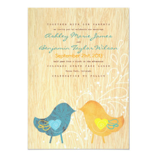 Love Birds Woodgrain Rustic Wedding Invitation