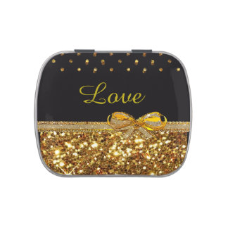 Love, black and Gold Candy Favor Party Tins Candy Tin