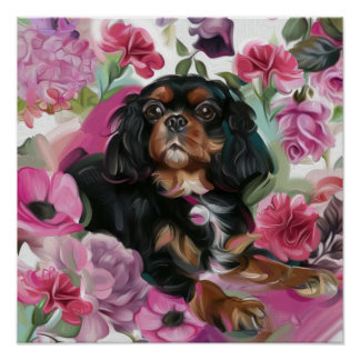 'Love' black and tan cavalier poster print