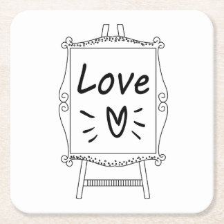 Love Black And White Artist Easel Wedding Party Square Paper Coaster