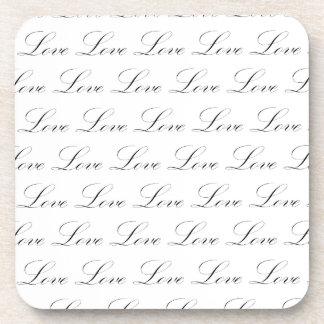 Love Black and White Script Beverage Coaster