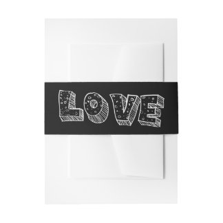 Love Black And White Wedding Wedding Belly Band Invitation Belly Band