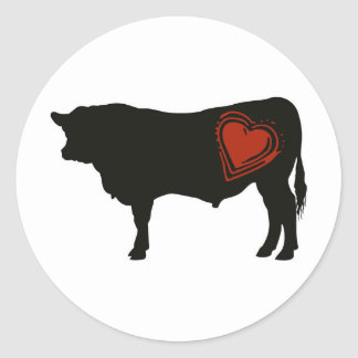 Love Black Angus Beef Classic Round Sticker