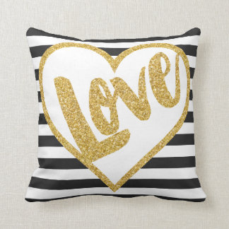 Love Black & White Gold Glitter Stripes Cushion