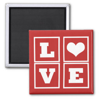 Love Blocks Magnet, Dark Red