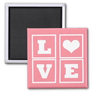 Love Blocks Magnet, Pink
