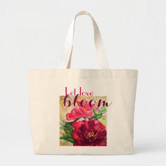 Love Bloom Red Rose Art Jumbo Canvas Tote