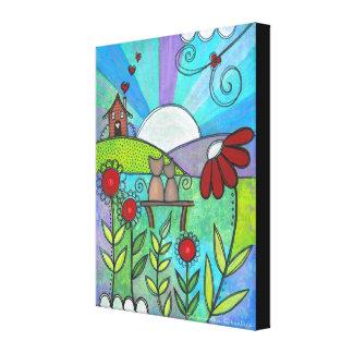 Love Blooms - 16x20 Kitty Cat Flowers Kids Art Gallery Wrap Canvas
