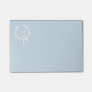Love Blue And White Laurel Wreath Heart Post-it Notes
